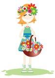 A menina no verão ilustração stock