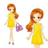 Menina no vestido amarelo do verão Imagens de Stock Royalty Free
