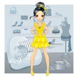 A menina no vestido amarelo faz a compra Ilustração do Vetor