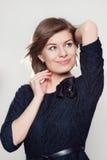 Menina no vestido azul Fotos de Stock Royalty Free