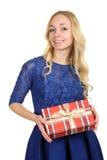 Menina no vestido azul bonito Imagens de Stock