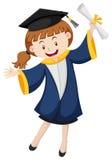 Menina no vestido azul da graduação ilustração royalty free