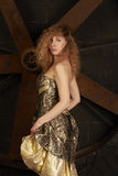 Menina no vestido brilhante de brocado de encontro sobre a uma parte traseira da obscuridade Fotografia de Stock