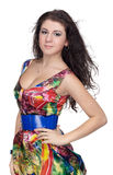 Menina no vestido colorido Fotografia de Stock