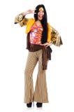 Menina no vestido colorido do latino isolado no branco fotos de stock royalty free