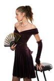 Menina no vestido com um ventilador Fotos de Stock Royalty Free