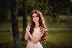 Menina no vestido cor-de-rosa Fotografia de Stock