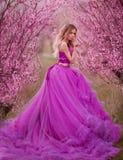 Menina no vestido cor-de-rosa em jardins de florescência foto de stock