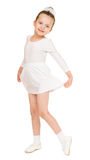 Menina no vestido de bola branco fotografia de stock