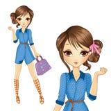 Menina no vestido de Jeens com saco Ilustração Stock
