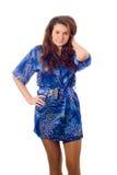 Menina no vestido de limpeza Foto de Stock Royalty Free