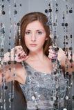 Menina no vestido de prata Imagem de Stock