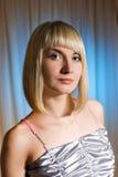 Menina no vestido de prata Fotos de Stock Royalty Free