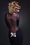 Menina no vestido do laço fotografia de stock