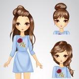 Menina no vestido e na coleção azuis do penteado Ilustração do Vetor