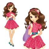Menina no vestido elegante e nas luvas Imagens de Stock Royalty Free