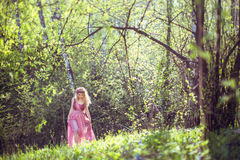 A menina no vestido feericamente anda nas madeiras Fotos de Stock