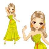 Menina no vestido longo do verão Ilustração Royalty Free