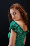 Menina no vestido pontilhado Imagens de Stock