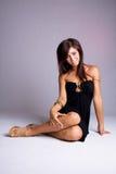 Menina no vestido preto Imagem de Stock Royalty Free