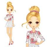Menina no vestido romântico do estilo Ilustração Stock
