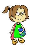 Menina no vestido verde com o livro no fundo branco Imagem de Stock
