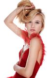 Menina no vestido vermelho Imagens de Stock Royalty Free