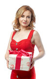 Menina no vestido vermelho Imagem de Stock Royalty Free