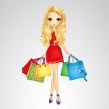 Menina no vestido vermelho com sacos de compras Ilustração Stock