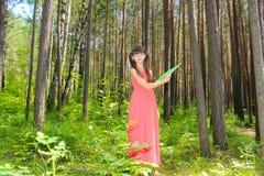Menina no vestido vermelho no verde floresta que ventila-se um fã Fotografia de Stock