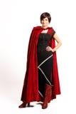 Menina no vestido vermelho-preto Fotos de Stock Royalty Free