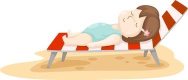 Menina no vetor da cama da praia Fotos de Stock Royalty Free