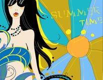 Menina nos óculos de sol na praia no verão ilustração stock