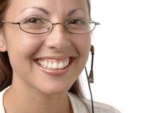 Menina nos auriculares Fotos de Stock