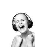 A menina nos phoneheads está gritando emocionalmente Imagem de Stock