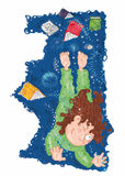 A menina nos pijamas que sonha contos de fadas do voo registra o voo Foto de Stock Royalty Free