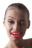 A menina nova alegre do disco pisc na câmera Fotos de Stock Royalty Free