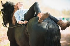 Menina nova do cavaleiro com o cabelo longo que encontra-se no pescoço do cavalo Foto de Stock