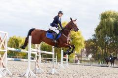 Menina nova do cavaleiro do cavalo na competição equestre Imagem de Stock