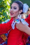 Menina nova do dançarino de Porto Rico no traje tradicional foto de stock royalty free
