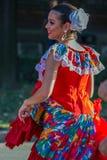 Menina nova do dançarino de Porto Rico no traje tradicional imagem de stock royalty free