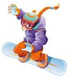Menina nova do snowboarder. Fotografia de Stock
