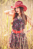 Menina nova romântica da beleza no verão foto de stock royalty free