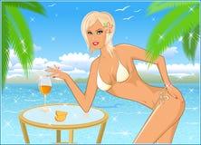 Menina o blonde na praia Foto de Stock Royalty Free
