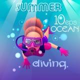 A menina o mergulhador ilustração do vetor