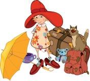 A menina o turista. Desenhos animados Fotografia de Stock Royalty Free