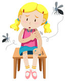 A menina obtém mordida por mosquitos ilustração royalty free
