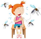 A menina obtém mordida por mosquitos ilustração stock