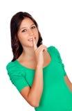 Menina ocasional bonita com um gesto de Fotografia de Stock Royalty Free