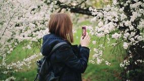 Menina ocasional do moderno com um telefone em um jardim de florescência da mola filme
